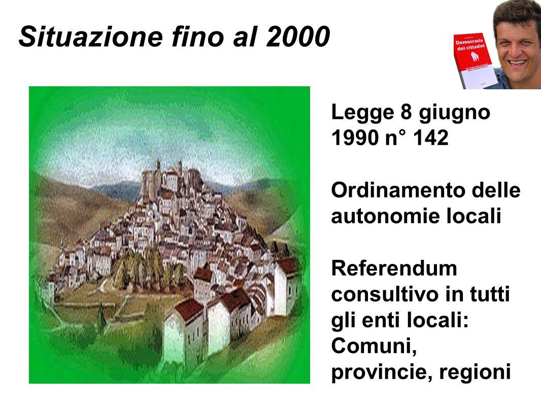 Situazione fino al 2000 Legge 8 giugno 1990 n° 142 Ordinamento delle autonomie locali Referendum consultivo in tutti gli enti locali: Comuni, provincie, regioni