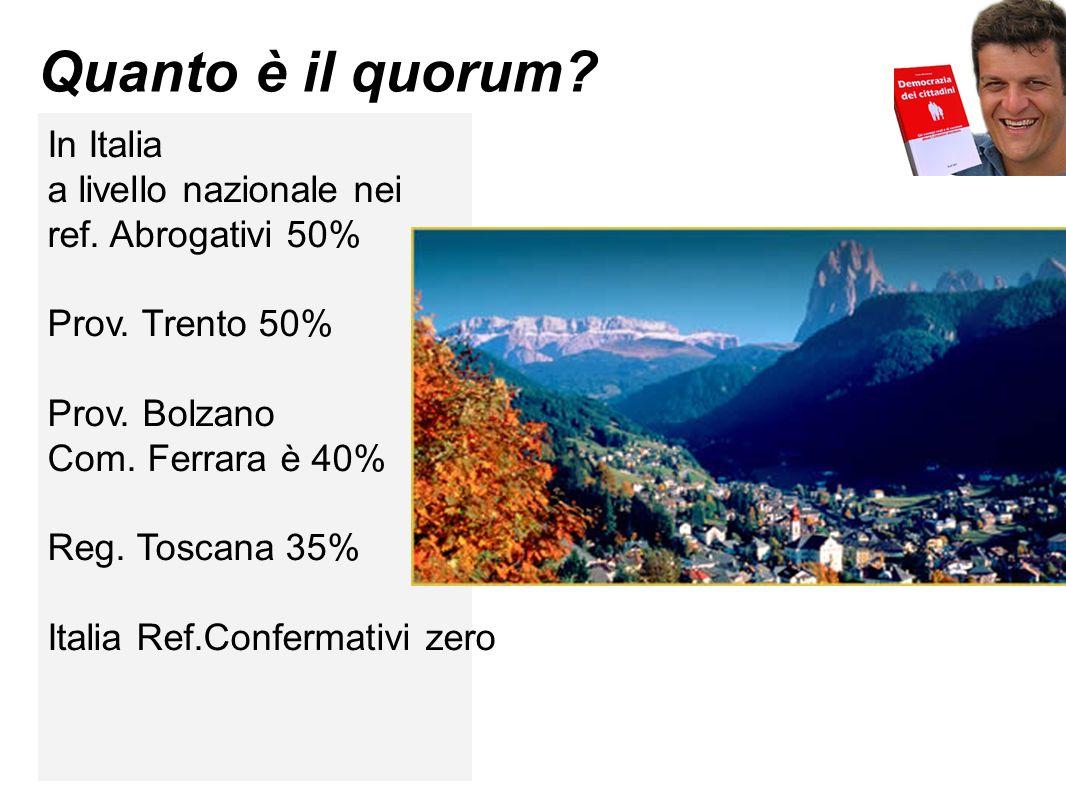 Quanto è il quorum? In Italia a livello nazionale nei ref. Abrogativi 50% Prov. Trento 50% Prov. Bolzano Com. Ferrara è 40% Reg. Toscana 35% Italia Re
