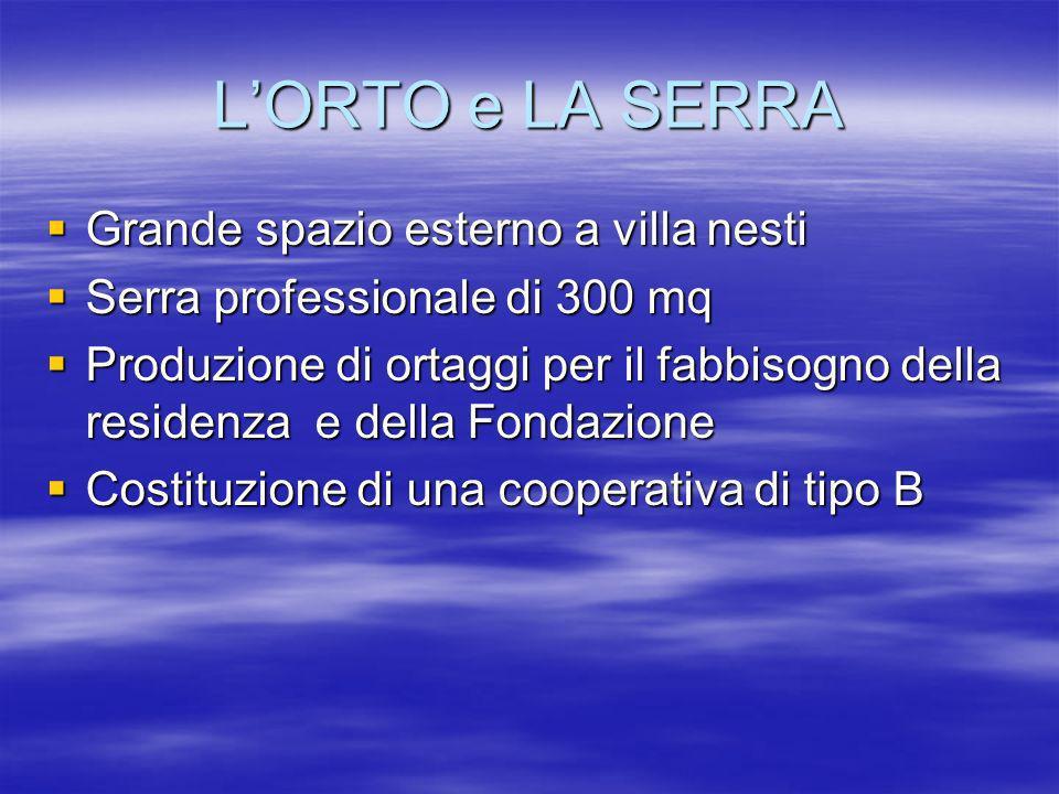 LORTO e LA SERRA Grande spazio esterno a villa nesti Grande spazio esterno a villa nesti Serra professionale di 300 mq Serra professionale di 300 mq P