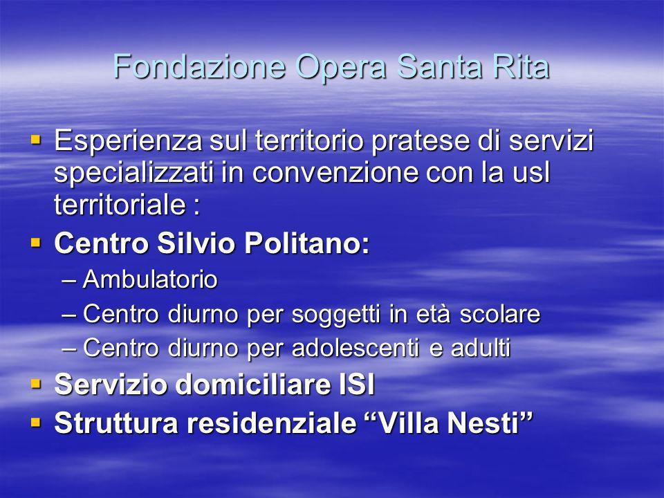 Fondazione Opera Santa Rita Esperienza sul territorio pratese di servizi specializzati in convenzione con la usl territoriale : Esperienza sul territo