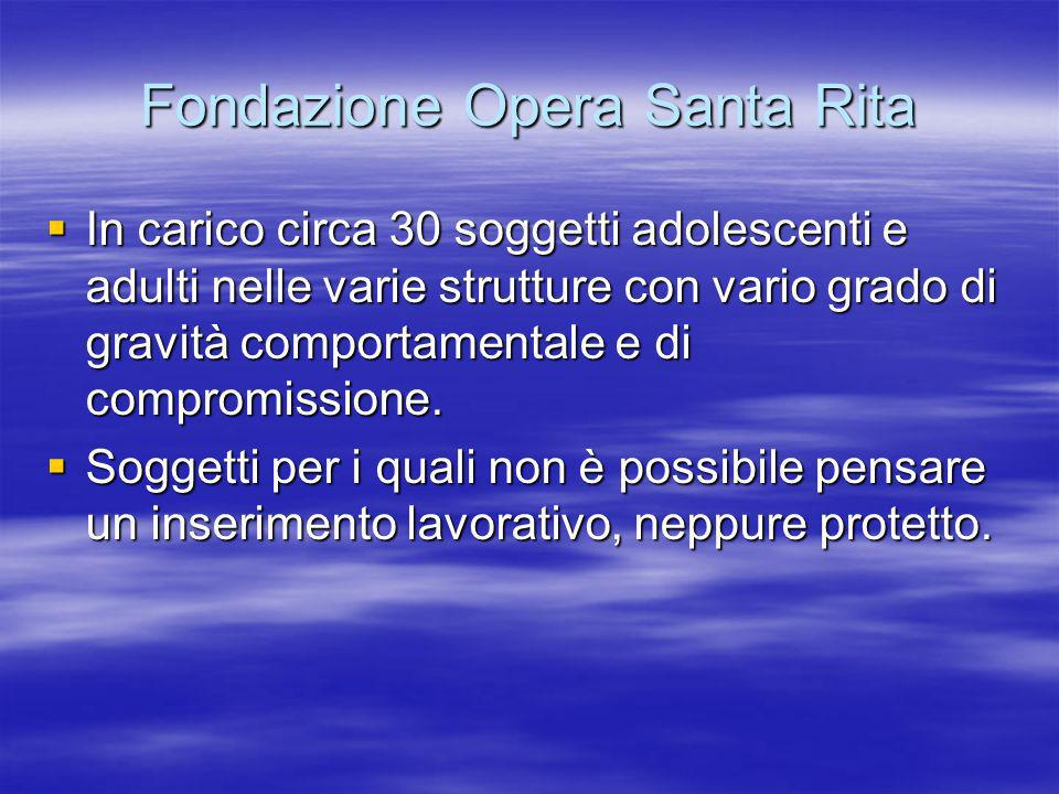 Fondazione Opera Santa Rita In carico circa 30 soggetti adolescenti e adulti nelle varie strutture con vario grado di gravità comportamentale e di com