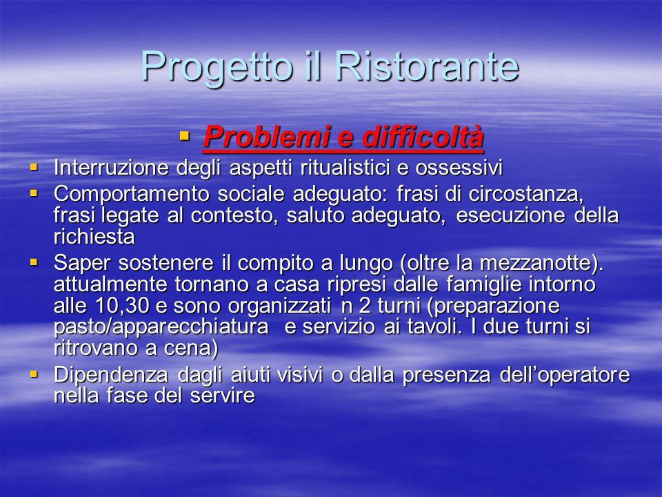 Progetto il Ristorante Problemi e difficoltà Problemi e difficoltà Interruzione degli aspetti ritualistici e ossessivi Interruzione degli aspetti ritu