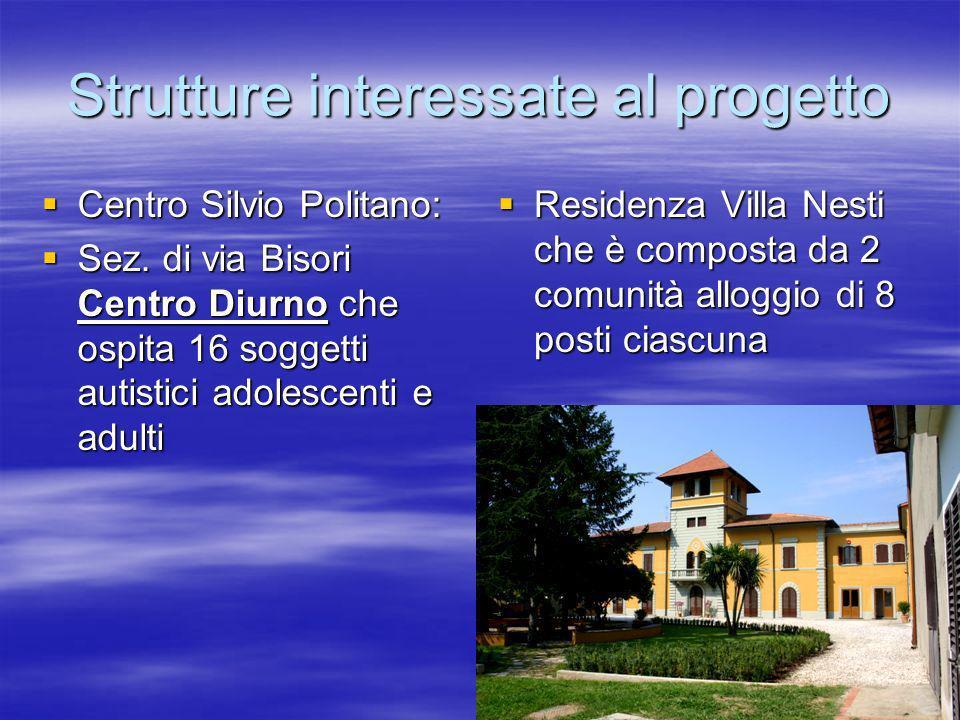 Strutture interessate al progetto Centro Silvio Politano: Centro Silvio Politano: Sez. di via Bisori Centro Diurno che ospita 16 soggetti autistici ad