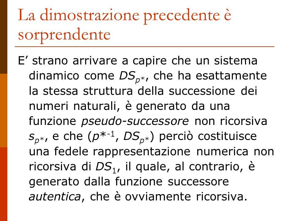 La dimostrazione precedente è sorprendente E strano arrivare a capire che un sistema dinamico come DS p*, che ha esattamente la stessa struttura della