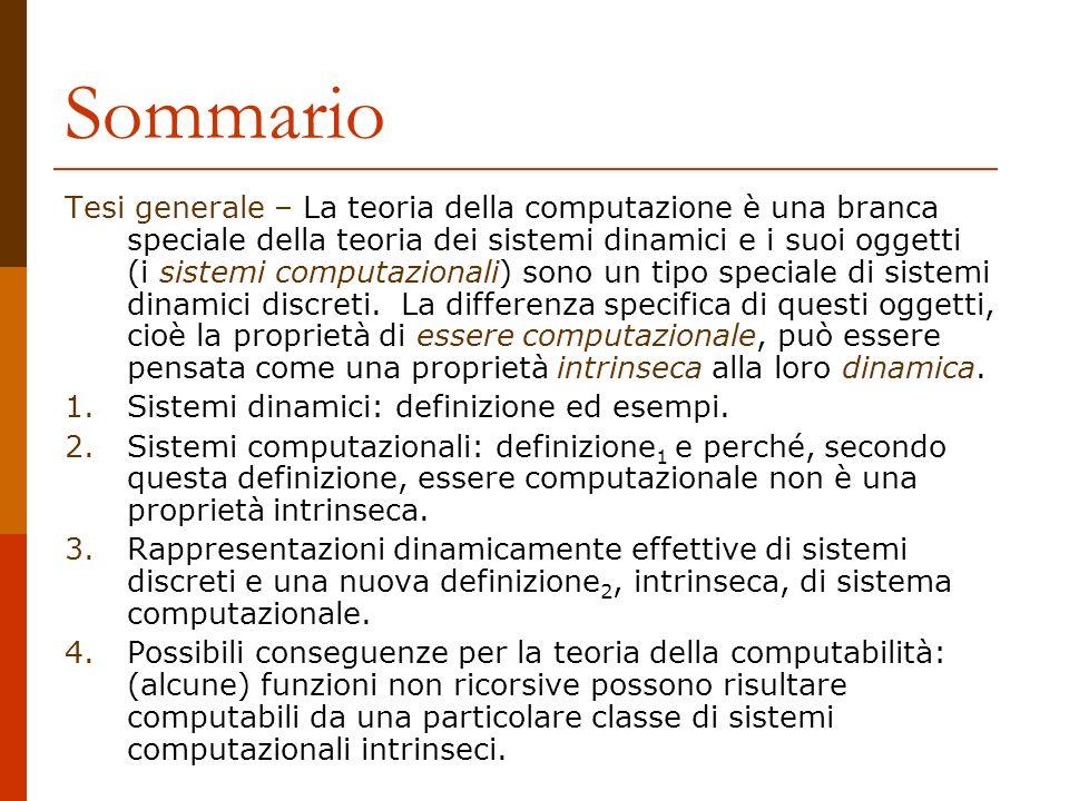 Sommario Tesi generale – La teoria della computazione è una branca speciale della teoria dei sistemi dinamici e i suoi oggetti (i sistemi computaziona
