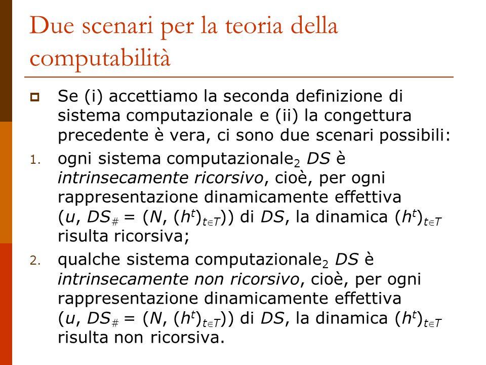 Due scenari per la teoria della computabilità Se (i) accettiamo la seconda definizione di sistema computazionale e (ii) la congettura precedente è ver