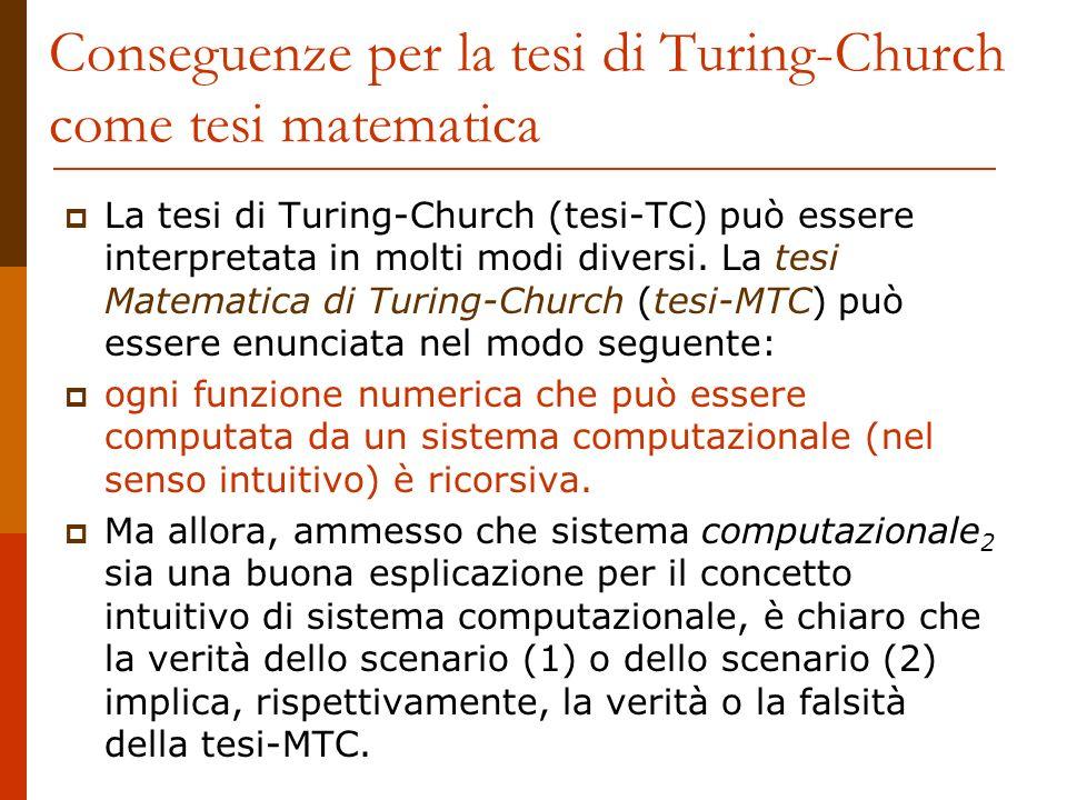 Conseguenze per la tesi di Turing-Church come tesi matematica La tesi di Turing-Church (tesi-TC) può essere interpretata in molti modi diversi. La tes