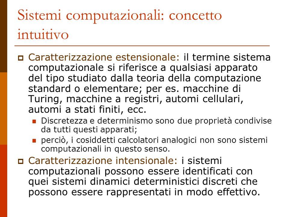 Sistemi computazionali: concetto intuitivo Caratterizzazione estensionale: il termine sistema computazionale si riferisce a qualsiasi apparato del tip
