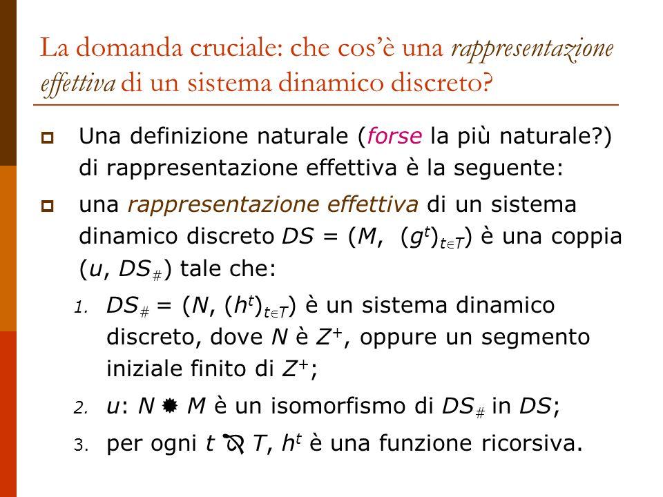 La domanda cruciale: che cosè una rappresentazione effettiva di un sistema dinamico discreto? Una definizione naturale (forse la più naturale?) di rap