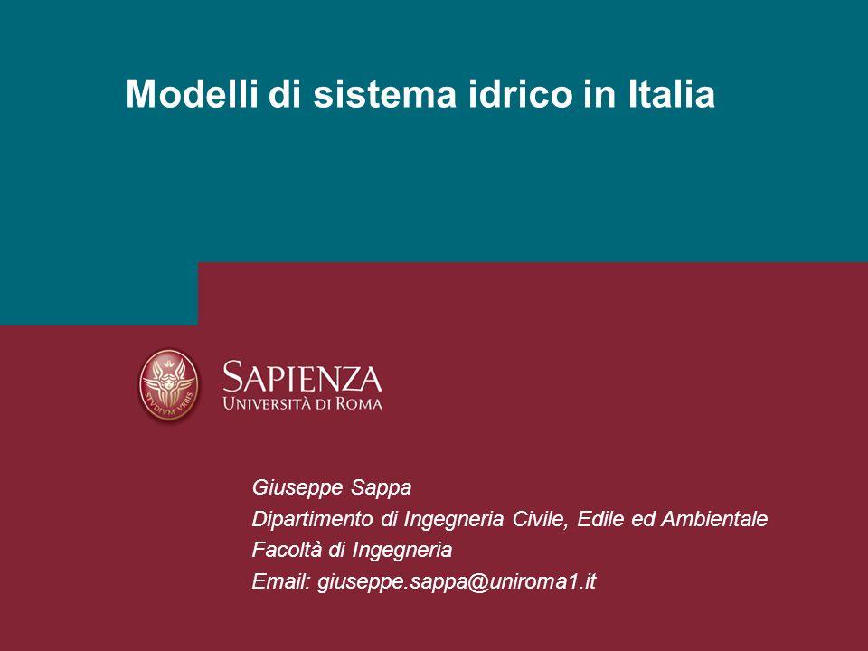 Idrogeologia Applicata-Esercitazione 04Pagina 1 Modelli di sistema idrico in Italia Giuseppe Sappa Dipartimento di Ingegneria Civile, Edile ed Ambient
