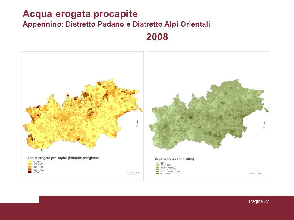 Pagina 27 2008 Acqua erogata procapite Appennino: Distretto Padano e Distretto Alpi Orientali