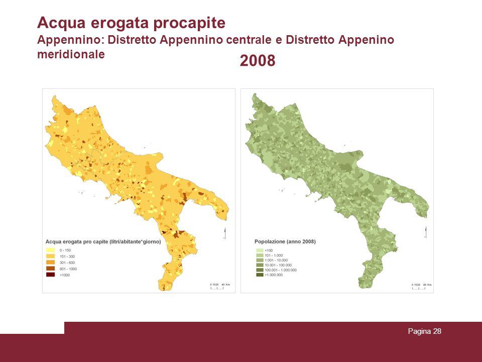 Pagina 28 2008 Acqua erogata procapite Appennino: Distretto Appennino centrale e Distretto Appenino meridionale