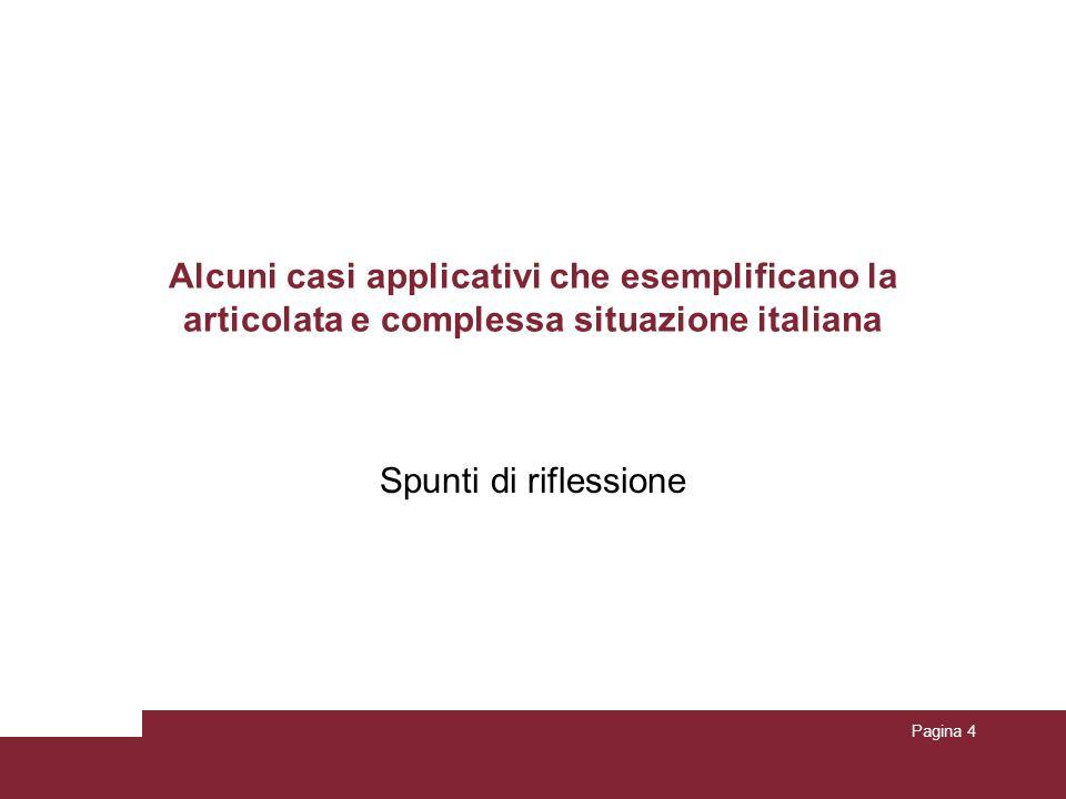Alcuni casi applicativi che esemplificano la articolata e complessa situazione italiana Spunti di riflessione Pagina 4