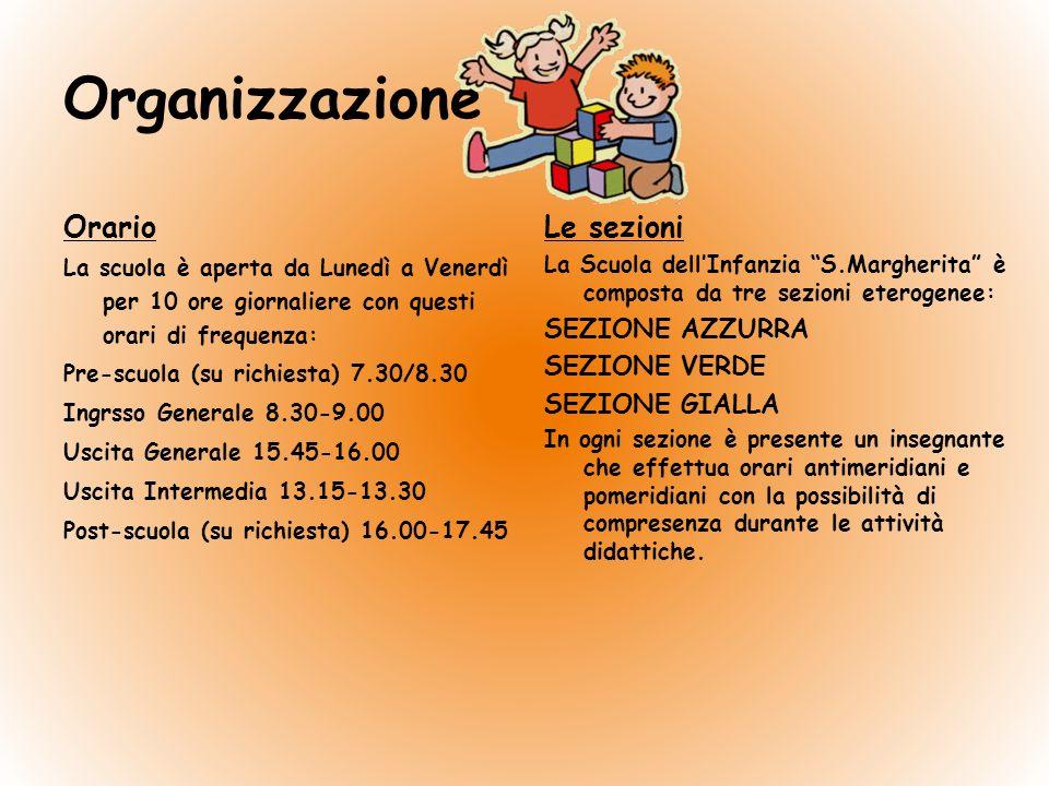 Organizzazione Orario La scuola è aperta da Lunedì a Venerdì per 10 ore giornaliere con questi orari di frequenza: Pre-scuola (su richiesta) 7.30/8.30 Ingrsso Generale 8.30-9.00 Uscita Generale 15.45-16.00 Uscita Intermedia 13.15-13.30 Post-scuola (su richiesta) 16.00-17.45 Le sezioni La Scuola dellInfanzia S.Margherita è composta da tre sezioni eterogenee: SEZIONE AZZURRA SEZIONE VERDE SEZIONE GIALLA In ogni sezione è presente un insegnante che effettua orari antimeridiani e pomeridiani con la possibilità di compresenza durante le attività didattiche.