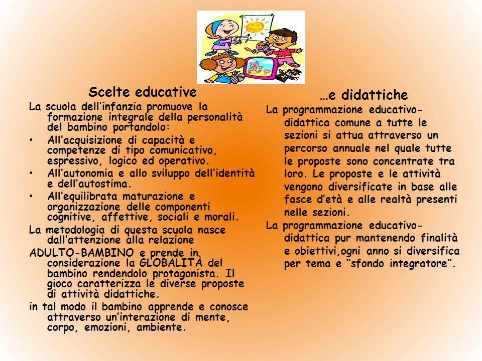 Scelte educative La scuola dellinfanzia promuove la formazione integrale della personalità del bambino portandolo: Allacquisizione di capacità e competenze di tipo comunicativo, espressivo, logico ed operativo.