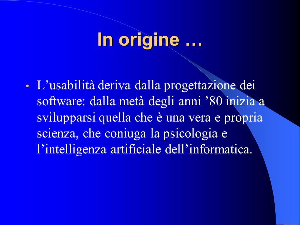 In origine … Lusabilità deriva dalla progettazione dei software: dalla metà degli anni 80 inizia a svilupparsi quella che è una vera e propria scienza