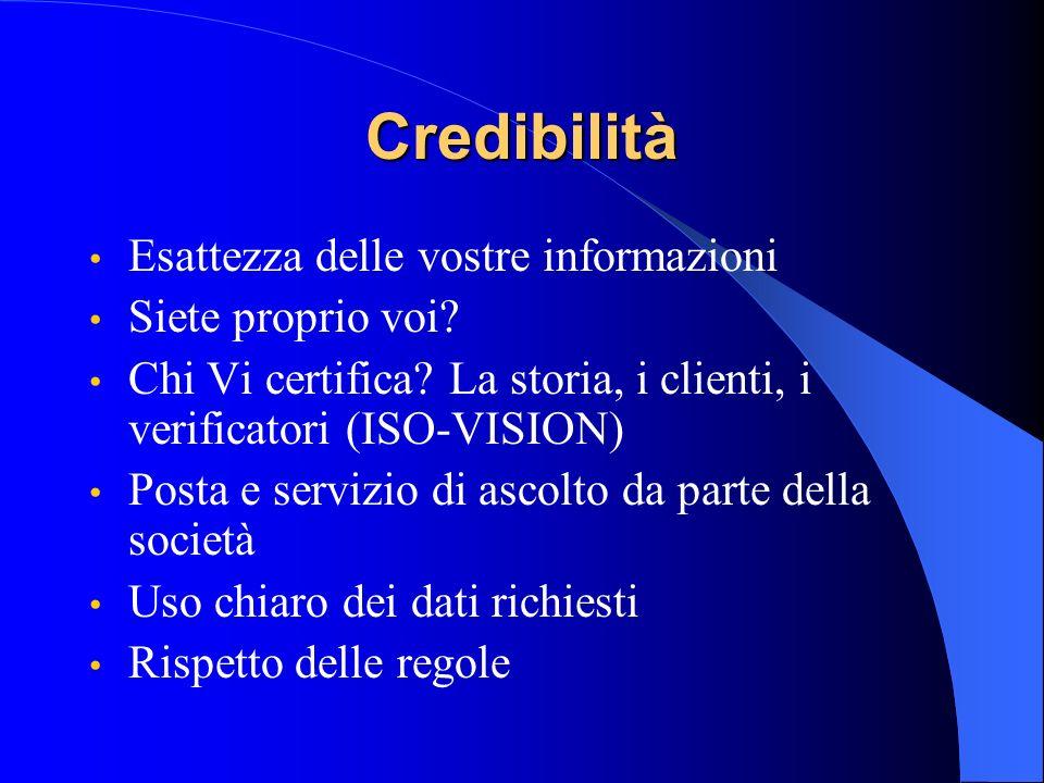 Credibilità Esattezza delle vostre informazioni Siete proprio voi? Chi Vi certifica? La storia, i clienti, i verificatori (ISO-VISION) Posta e servizi