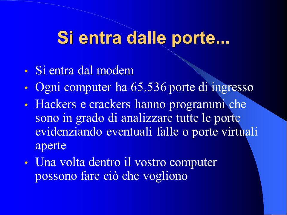 Si entra dalle porte... Si entra dal modem Ogni computer ha 65.536 porte di ingresso Hackers e crackers hanno programmi che sono in grado di analizzar