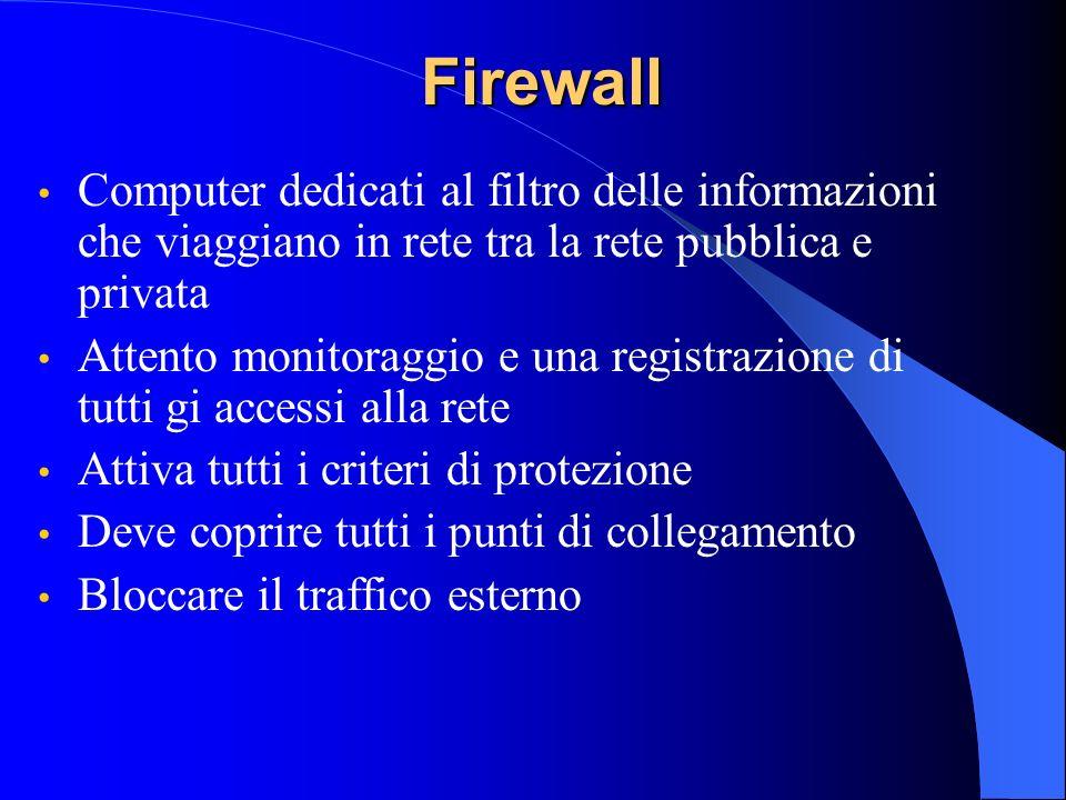 Firewall Computer dedicati al filtro delle informazioni che viaggiano in rete tra la rete pubblica e privata Attento monitoraggio e una registrazione