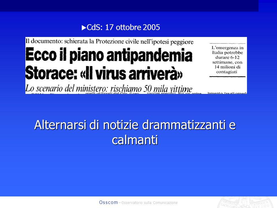 O s s c o m – Osservatorio sulla Comunicazione CdS: 17 ottobre 2005 Alternarsi di notizie drammatizzanti e calmanti