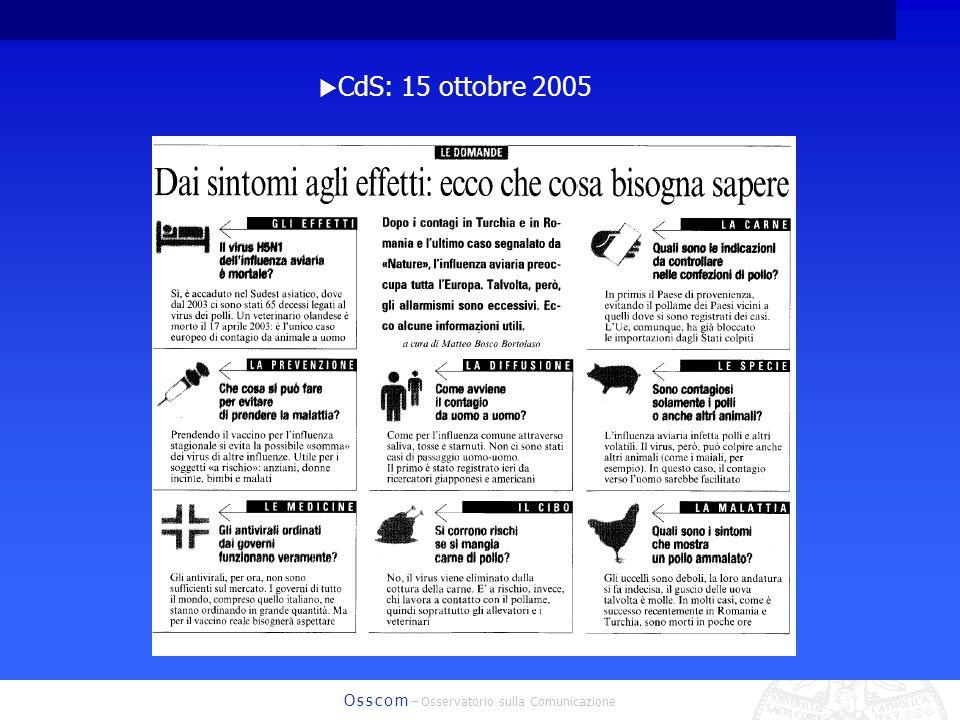 O s s c o m – Osservatorio sulla Comunicazione CdS: 15 ottobre 2005