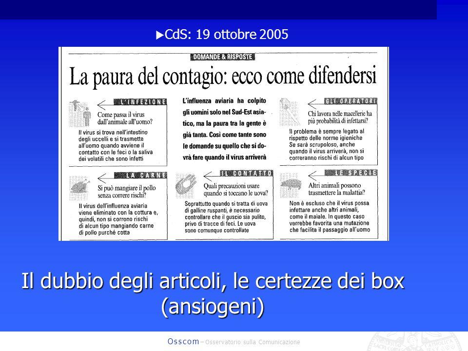 O s s c o m – Osservatorio sulla Comunicazione CdS: 19 ottobre 2005 Il dubbio degli articoli, le certezze dei box (ansiogeni)