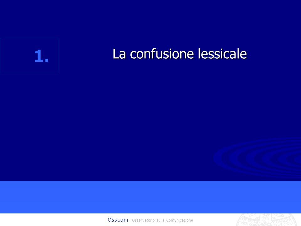 O s s c o m – Osservatorio sulla Comunicazione La confusione lessicale La confusione lessicale 1.