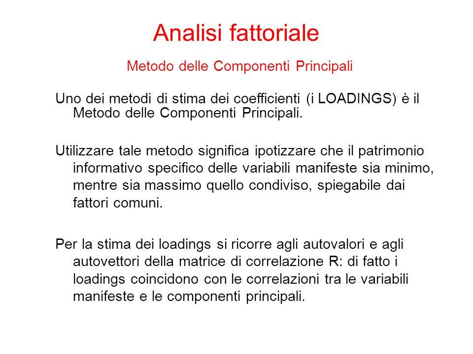 Analisi fattoriale Metodo delle Componenti Principali Uno dei metodi di stima dei coefficienti (i LOADINGS) è il Metodo delle Componenti Principali.