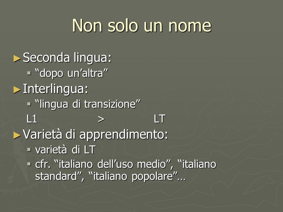 Non solo un nome Seconda lingua: Seconda lingua: dopo unaltra dopo unaltra Interlingua: Interlingua: lingua di transizione lingua di transizione L1>LT Varietà di apprendimento: Varietà di apprendimento: varietà di LT varietà di LT cfr.