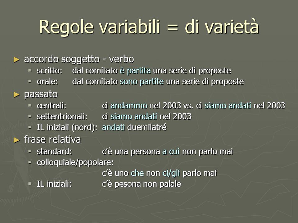 Regole variabili = di varietà accordo soggetto - verbo accordo soggetto - verbo scritto: dal comitato è partita una serie di proposte scritto: dal com