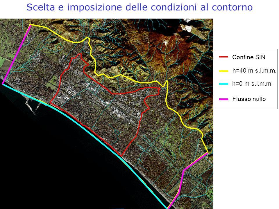 Scelta e imposizione delle condizioni al contorno Confine SIN h=40 m s.l.m.m. h=0 m s.l.m.m. Flusso nullo