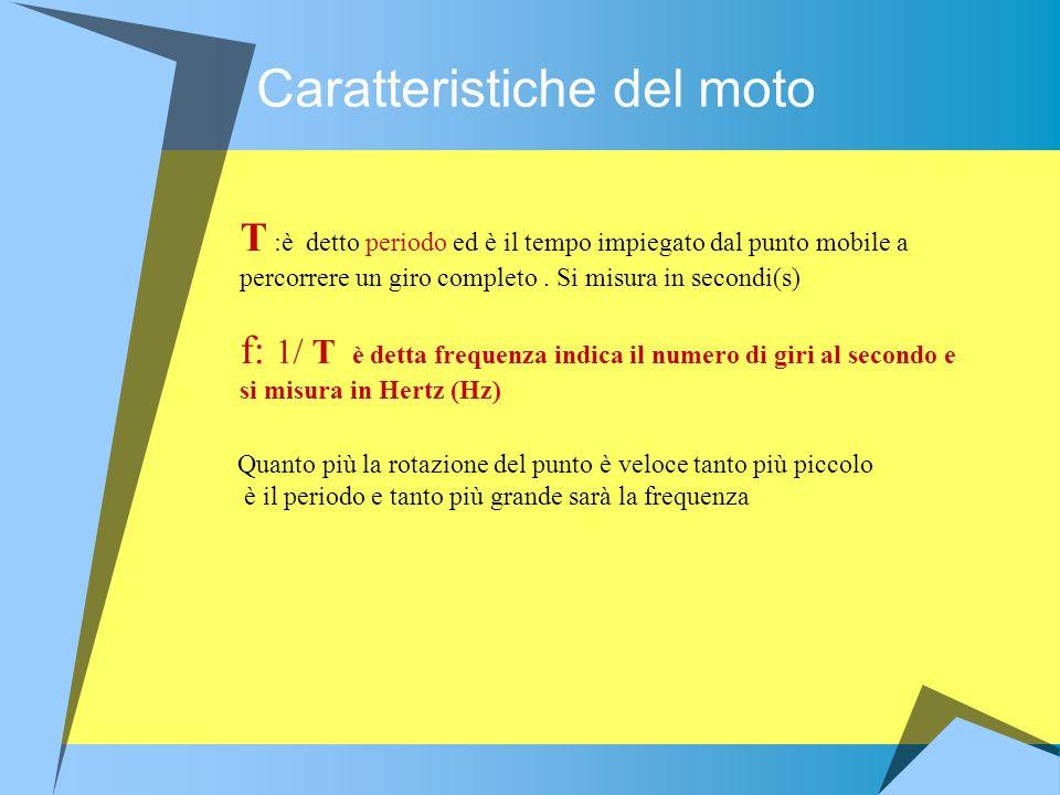 Caratteristiche del moto T :è detto periodo ed è il tempo impiegato dal punto mobile a percorrere un giro completo. Si misura in secondi(s) f: 1/ T è