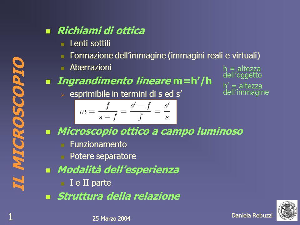 25 Marzo 2004 Daniela Rebuzzi 1 IL MICROSCOPIO Richiami di ottica Lenti sottili Formazione dellimmagine (immagini reali e virtuali) Aberrazioni Ingran