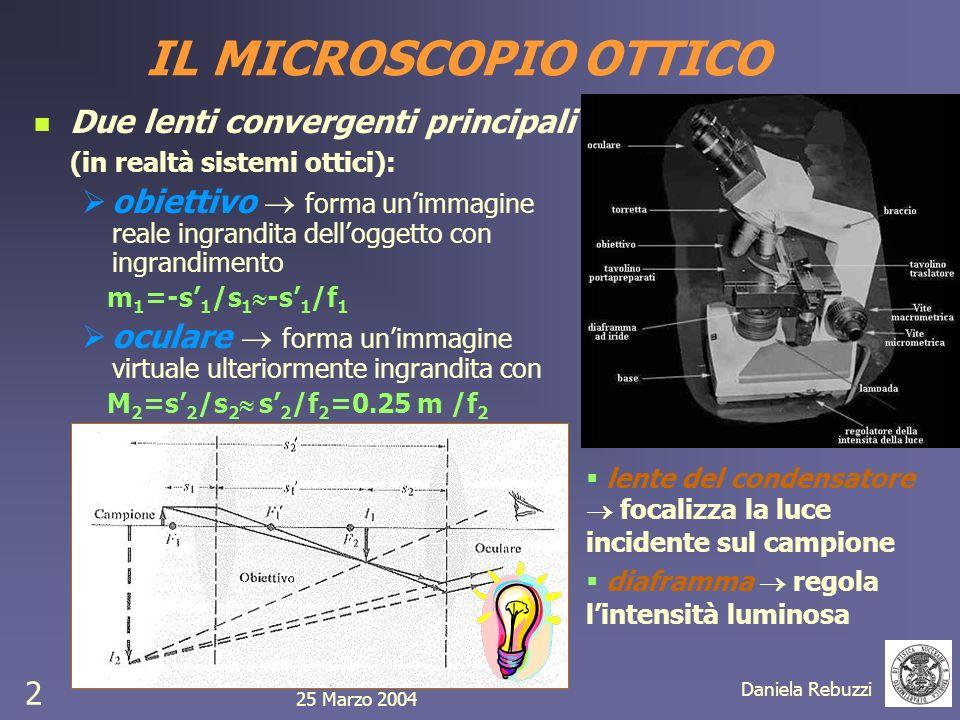 25 Marzo 2004 Daniela Rebuzzi 2 Due lenti convergenti principali (in realtà sistemi ottici): obiettivo forma unimmagine reale ingrandita delloggetto c