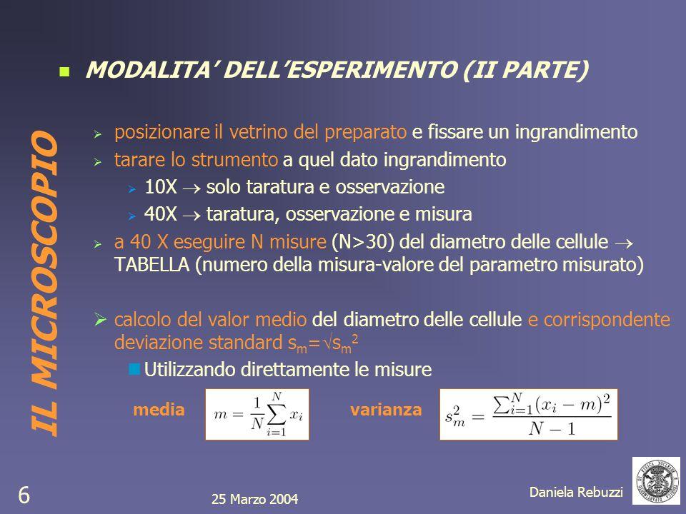 25 Marzo 2004 Daniela Rebuzzi 6 MODALITA DELLESPERIMENTO (II PARTE) posizionare il vetrino del preparato e fissare un ingrandimento tarare lo strument