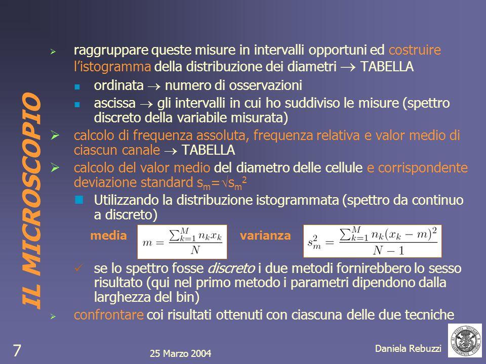 25 Marzo 2004 Daniela Rebuzzi 7 raggruppare queste misure in intervalli opportuni ed costruire listogramma della distribuzione dei diametri TABELLA or