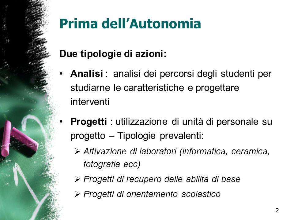 2 Prima dellAutonomia Due tipologie di azioni: Analisi : analisi dei percorsi degli studenti per studiarne le caratteristiche e progettare interventi