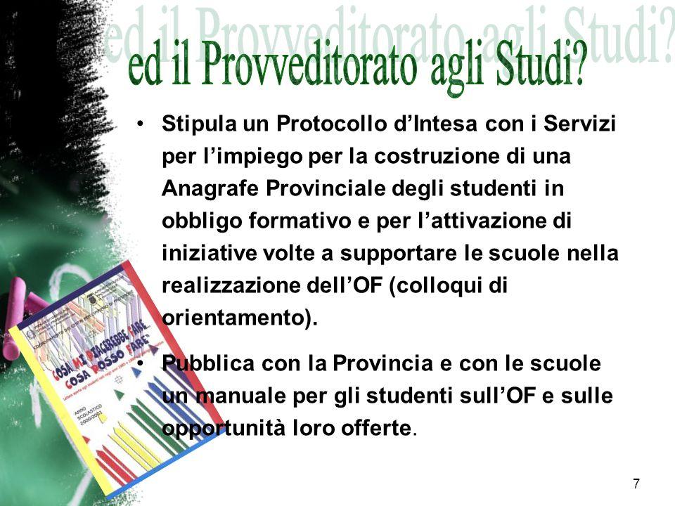 7 Stipula un Protocollo dIntesa con i Servizi per limpiego per la costruzione di una Anagrafe Provinciale degli studenti in obbligo formativo e per la