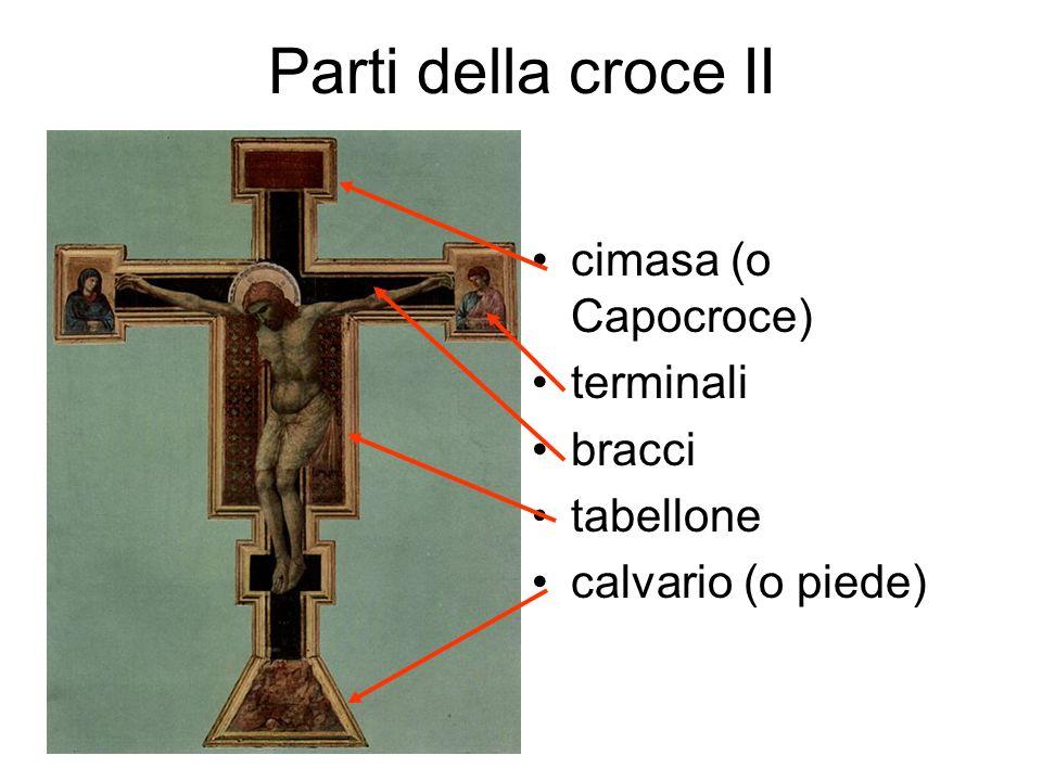 Parti della croce II cimasa (o Capocroce) terminali bracci tabellone calvario (o piede)