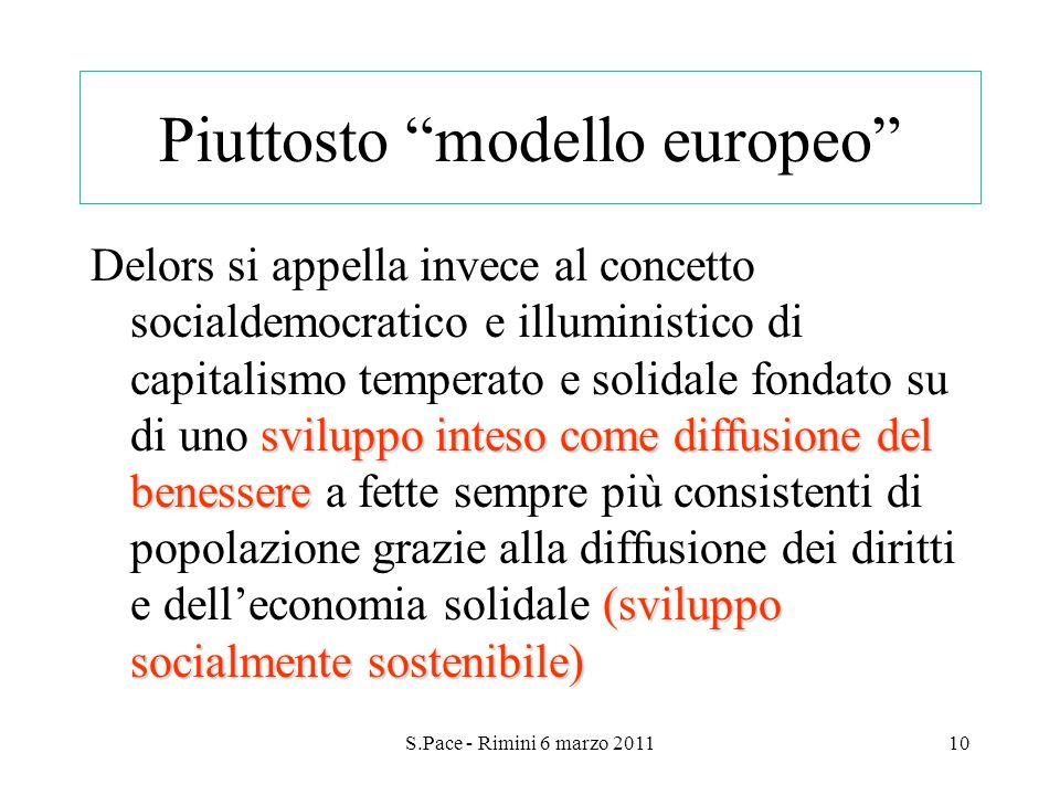 S.Pace - Rimini 6 marzo 201110 Piuttosto modello europeo sviluppo inteso come diffusione del benessere (sviluppo socialmente sostenibile) Delors si ap