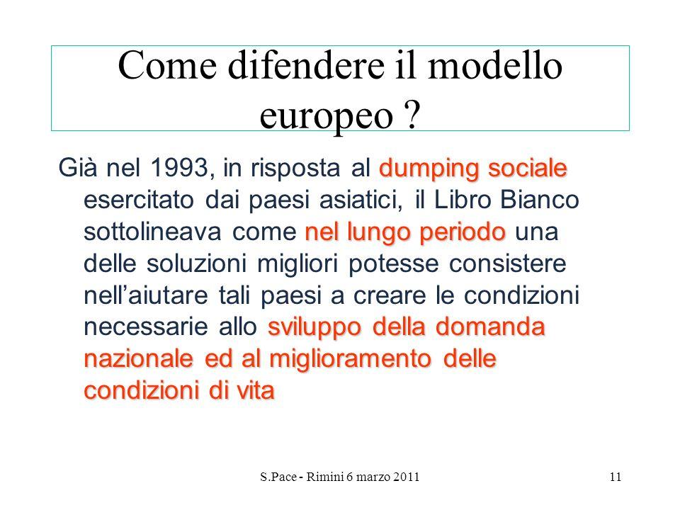 S.Pace - Rimini 6 marzo 201111 Come difendere il modello europeo ? dumping sociale nel lungo periodo sviluppo della domanda nazionale ed al migliorame