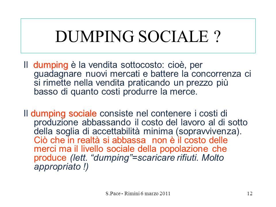 S.Pace - Rimini 6 marzo 201112 DUMPING SOCIALE ? dumping Il dumping è la vendita sottocosto: cioè, per guadagnare nuovi mercati e battere la concorren