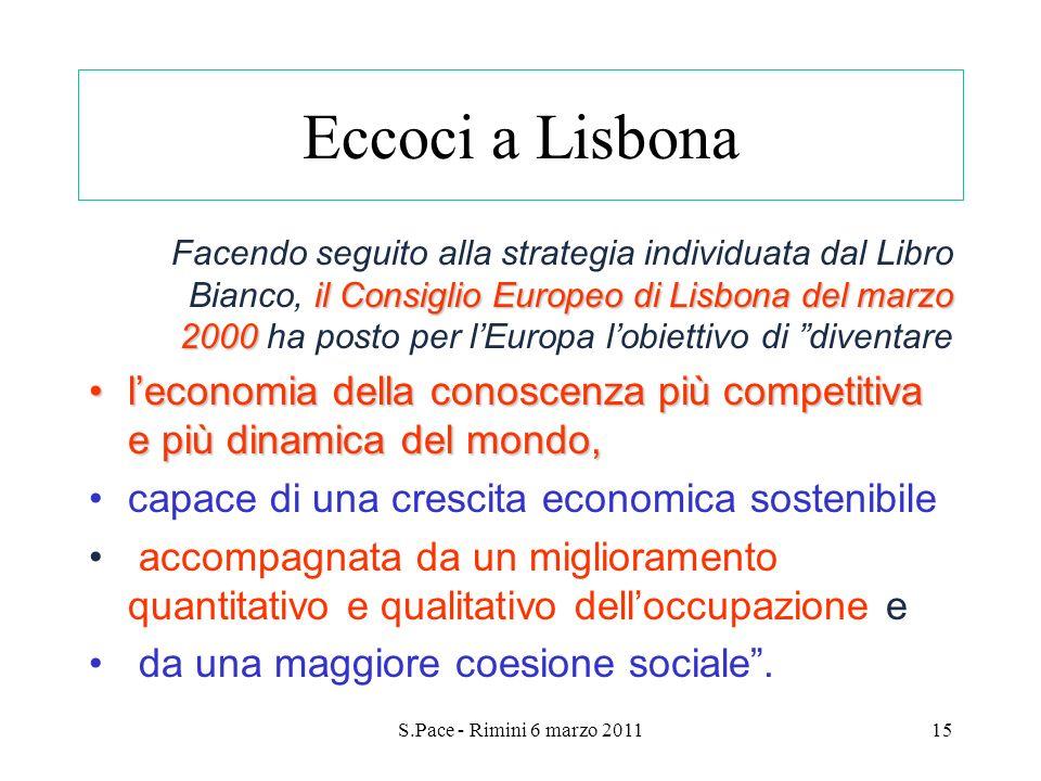 S.Pace - Rimini 6 marzo 201115 Eccoci a Lisbona il Consiglio Europeo di Lisbona del marzo 2000 Facendo seguito alla strategia individuata dal Libro Bi