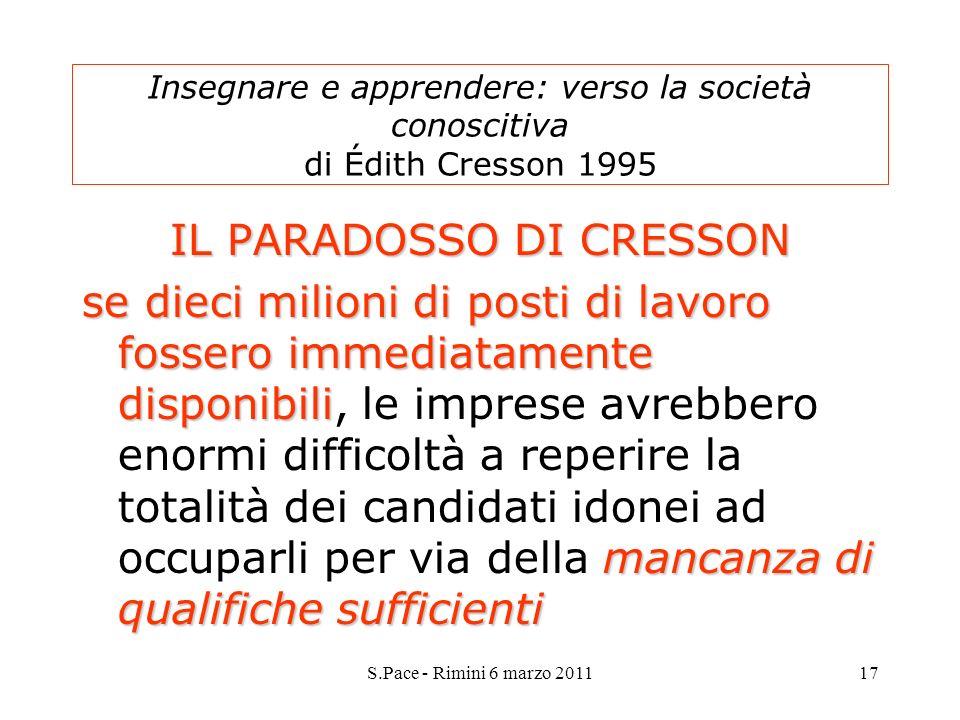 S.Pace - Rimini 6 marzo 201117 Insegnare e apprendere: verso la società conoscitiva di Édith Cresson 1995 IL PARADOSSO DI CRESSON se dieci milioni di