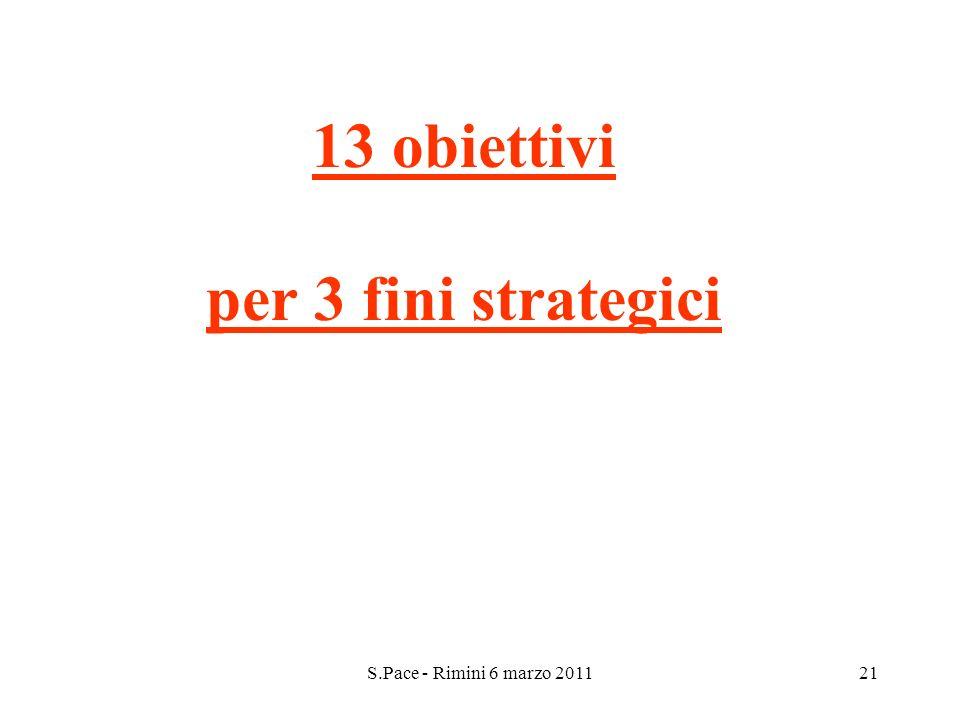 S.Pace - Rimini 6 marzo 201121 13 obiettivi per 3 fini strategici