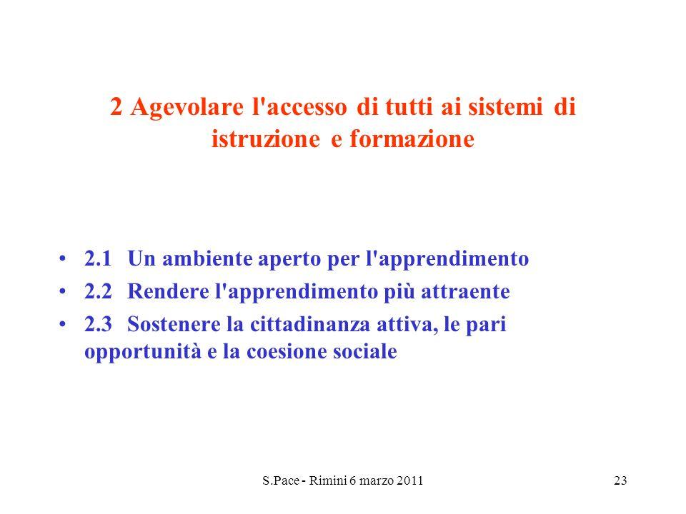S.Pace - Rimini 6 marzo 201123 2 Agevolare l accesso di tutti ai sistemi di istruzione e formazione 2.1Un ambiente aperto per l apprendimento 2.2Rendere l apprendimento più attraente 2.3Sostenere la cittadinanza attiva, le pari opportunità e la coesione sociale