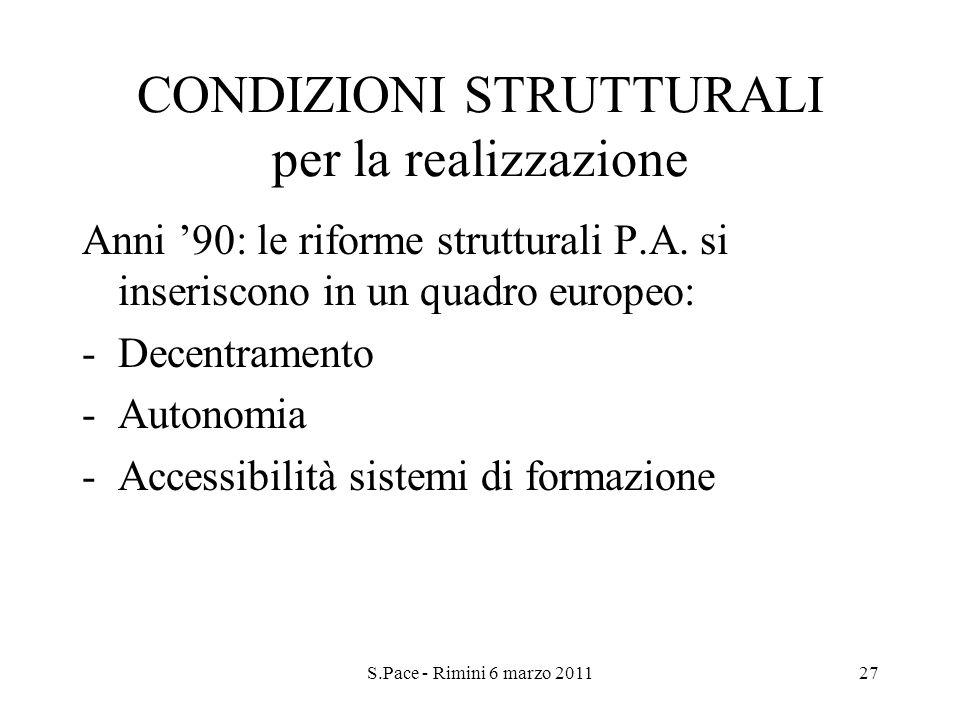 S.Pace - Rimini 6 marzo 201127 CONDIZIONI STRUTTURALI per la realizzazione Anni 90: le riforme strutturali P.A. si inseriscono in un quadro europeo: -