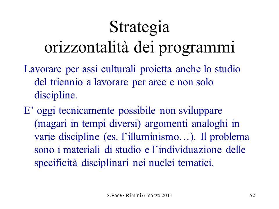 S.Pace - Rimini 6 marzo 201152 Strategia orizzontalità dei programmi Lavorare per assi culturali proietta anche lo studio del triennio a lavorare per