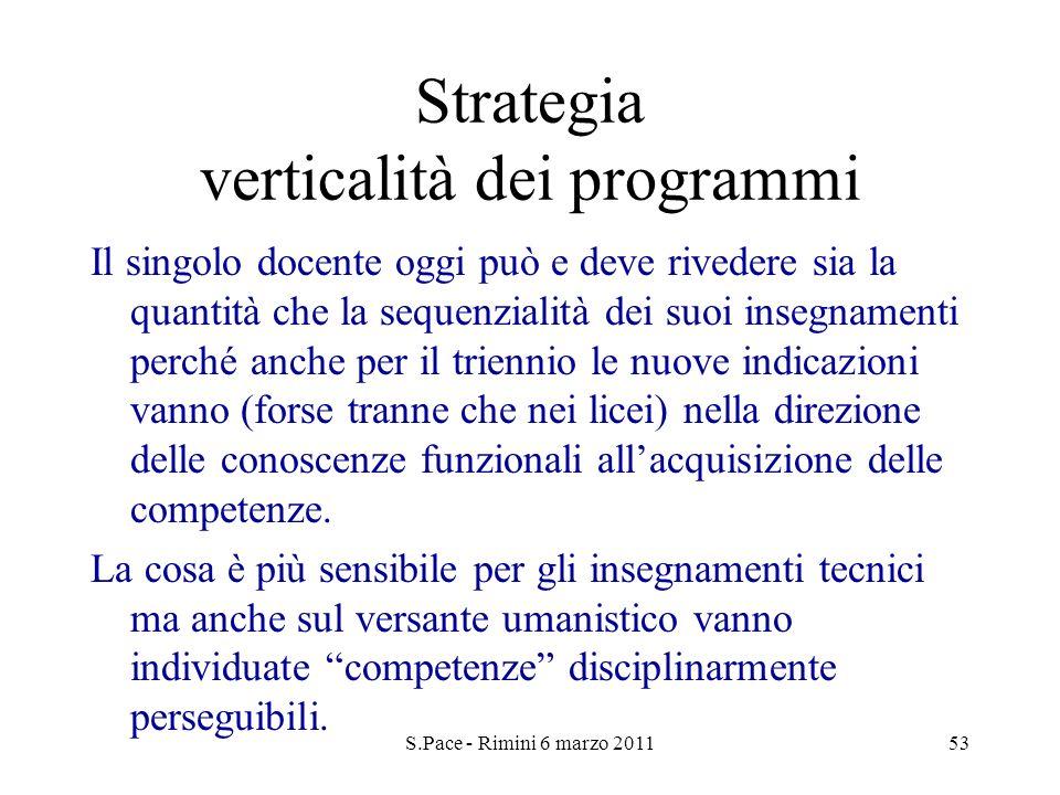 S.Pace - Rimini 6 marzo 201153 Strategia verticalità dei programmi Il singolo docente oggi può e deve rivedere sia la quantità che la sequenzialità de