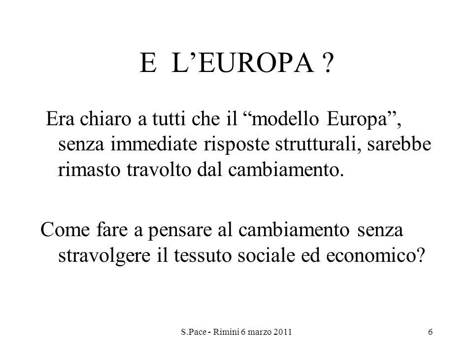 S.Pace - Rimini 6 marzo 20116 E LEUROPA ? Era chiaro a tutti che il modello Europa, senza immediate risposte strutturali, sarebbe rimasto travolto dal